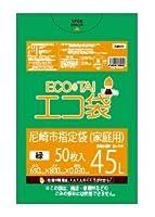 尼崎市指定袋 ECOTAI ECO 45L0.030㎜厚 50枚x12冊 緑