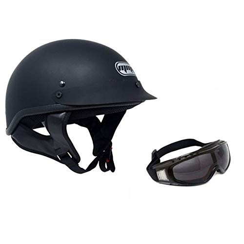 MMG 205 Motorcycle Half Helmet Cruiser DOT Street Legal, Flat Matte Black, Medium, Includes Smoked Riding Goggles