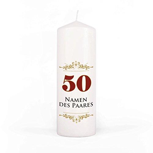 Herz & Heim® Kerze Stumpenkerze zur Goldenen Hochzeit mit Gratis Beschriftung der Namen des Paares 200/70mm Brenndauer ca. 65 h