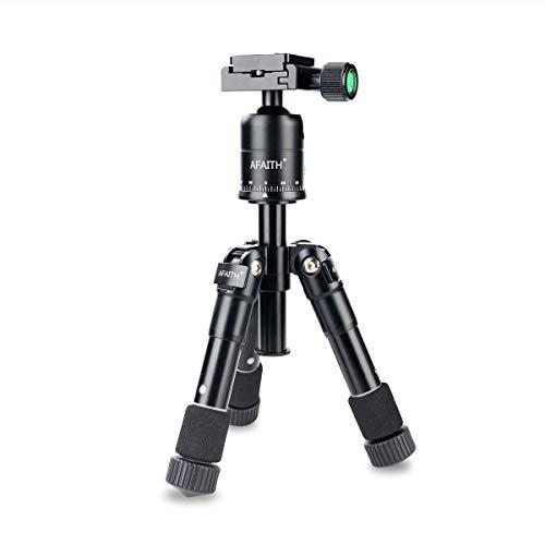AFAITH Trípode de aleación de Aluminio portátil Ultra Compacto Mini Mesa Kit Macro Cabeza de la Bola del trípode para Canon Nikon DSLR fotografía y videocámaras - Negro