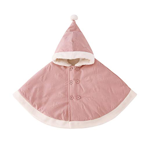 pureborn Baby Girls Hooded Cape Cloak Carseat Poncho Coat Snowsuit Winter Outfit Pink 0-1 Year