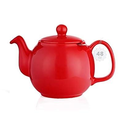 SAKI Large Porcelain Teapot, 48 Ounce Tea Pot with Infuser, Loose Leaf and Blooming Tea Pot - Red