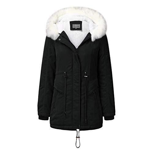 Janly Clearance Sale Abrigos de invierno para mujer, abrigo con capucha y cordn clido dentro de forro polar acolchado con cremallera delgada, para mujer Outwear (Negro-XXL)