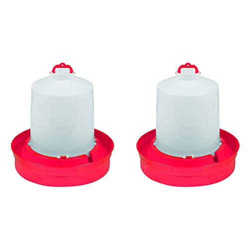 Little Giant DBW2 Deep Base Automatic Poultry Waterer Dispenser for Chickens & Birds, Red, 2 Gallon (2 Pack)