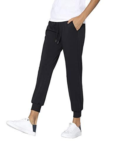 AJISAI Women's Joggers Pants Drawstring Running Sweatpants with Pockets Lounge Wear Black L