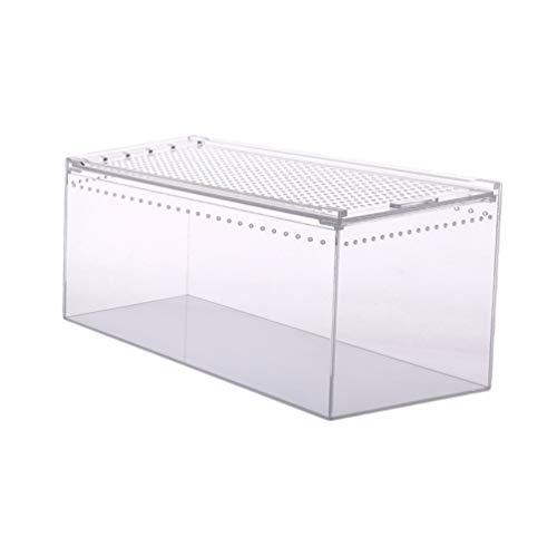 Balacoo Aquarium Zuchttank Transparente Reptilien Fütterungsbox Klar Acryl Terrarium Tank für Eidechse Einsiedlerkrebse Geckos Frösche Spinne Und Kleineres Tier 25X15x15cm