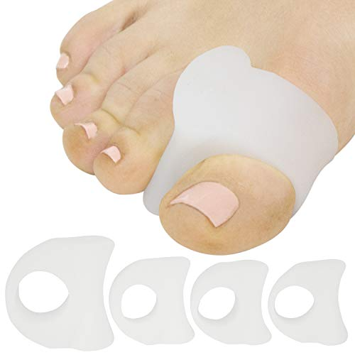 ViveSole Toe Spacers (4 Pack) - Gel Toe Ring Separator - Silicone Spreader Band - Corrector For Hammer Toe, Mallet Bunion Pain Relief, Overlapping Crooked Toes, Yoga, Plantar Fasciitis Orthotic