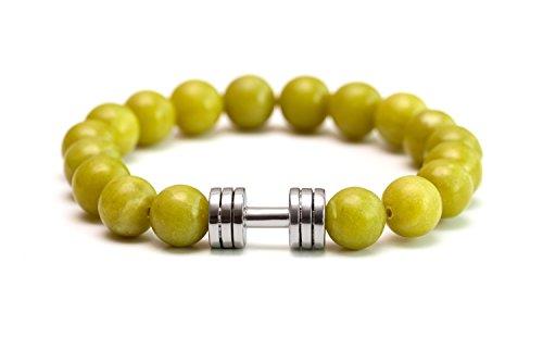 neues Jade Hantel Armband rhodiniert Fitness Gym Schmuck Perlen Armband