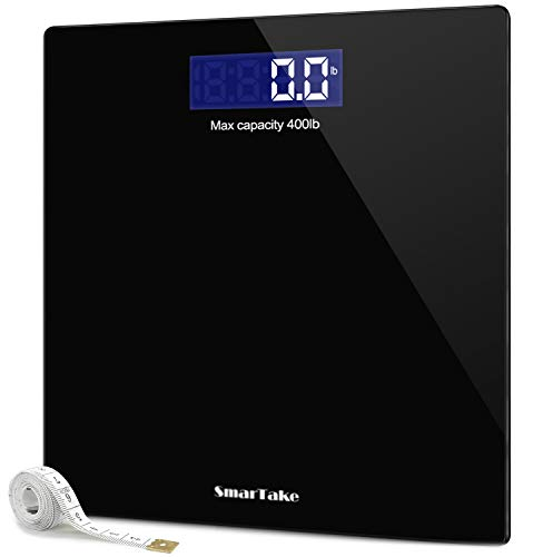 Weight Scale SmarTake Precision Digital Body Bathroom Scale with StepOn Technology 6mm Tempered Glass Easy Read Backlit LCD Display Body Tape Measure Included 400 Pounds Black