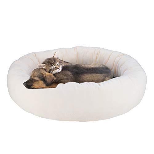 Cama para Gatos Cama para Perro Cojines para Sofá Cama de Mascotas Ovalada Redonda Cómodo Suave Corto Nido de Donut Nido Suave para Perros y Gatos Cómoda y Lavable Antideslizante 60*60*16cm,Beige