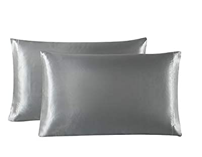 Love's cabin Silk Satin Pillowcase for Hair and Skin (Dark Gray, 20x30 inches) Slip Pillow Cases Queen Size Set of 2 - Satin Cooling Pillow Covers with Envelope Closure from Love's cabin