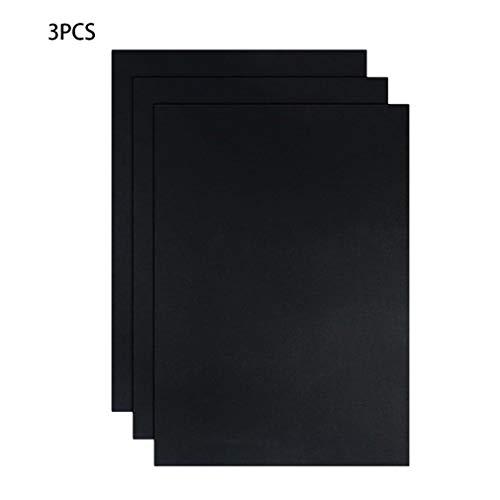 3 Pcs - Grill Mat, Non Stick BBQ Cooking Mat, Reusable Baking Mats for Charcoal, Gas, Electric (Black)