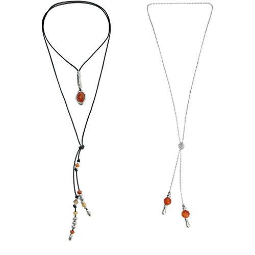 Beau Soleil Jewelry Set Lederkette mit Anhänger Karneol und Kugelkette individuell tragbar mit Lederfransen Ibiza Style Lederschmuck