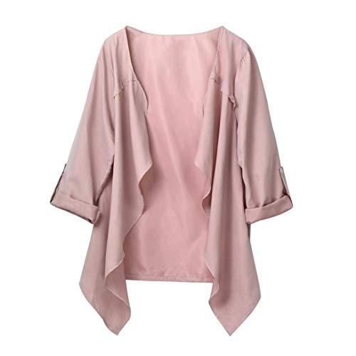 Ladies Coat Cardigan Mujeres Sólido Primavera Otoño Color Modernas Casual Cardigan Suelto Outwear 2020 Ropa De Niñas (Color : Rosa, One Size : EU:54)