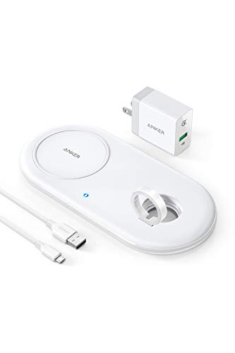Anker PowerWave+ Pad with Watch Holder(Apple Watch ホルダー付 5W / 7.5W / 10W ワイヤレス急速充電器)【Qi認証取得/QC 3.0対応急速充電器付属】Apple Watch Series 4 / 3 / 2、iPhone XS/XS Max/XR/X / 8 / 8 Plus その他Qi対応機種各種対応