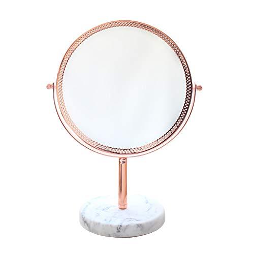 Decorative mirror-QFF Miroir latéral de fleur de fond en laiton en laiton, miroir de dressage Miroir de princesse Miroir rond Miroir de vanité de taille Miroir (Color : Brass, Size : 26.7 * 17.8CM)