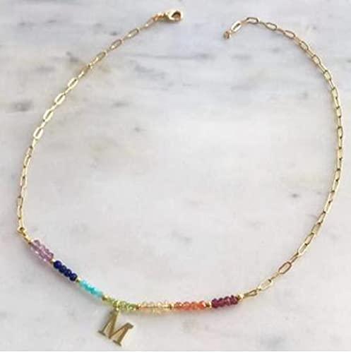 MIKUAU Collar Collar de Cuentas de Cristal Colorido, Collar con Letras Personalizadas a la Moda, joyería Personalizada para Amigos, Nueva bisutería para Mujer