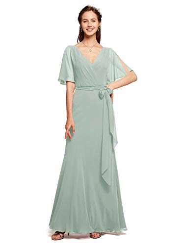 Alicepub Faux Wrap V-Neck Bridesmaid Dresses Long Chiffon Prom Evening Formal Dress with Short Sleeve, Sage Green, US10