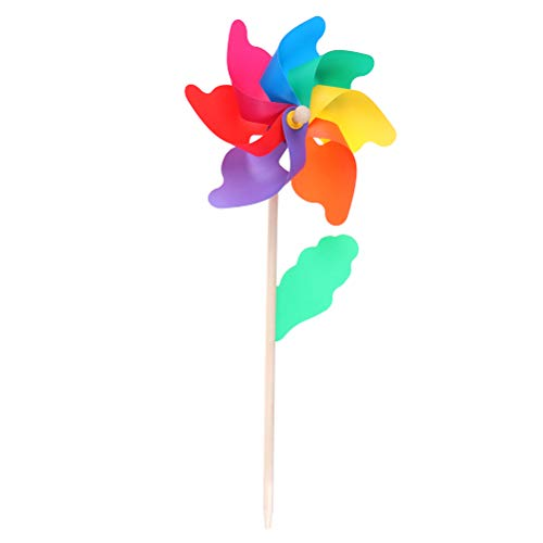 7thLake 1 moulin à vent arc-en-ciel en plastique, petite fleur moulin à vent pour fête, bricolage, pelouse, décoration de jardin, 24 cm de diamètre