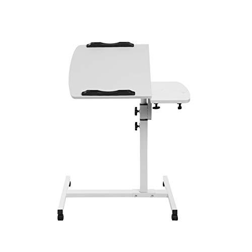 Trintion Computer Desk Utility Laptop Rolling Cart Table Adjustable Mobile Laptop Stand Desks Portable Side Table White