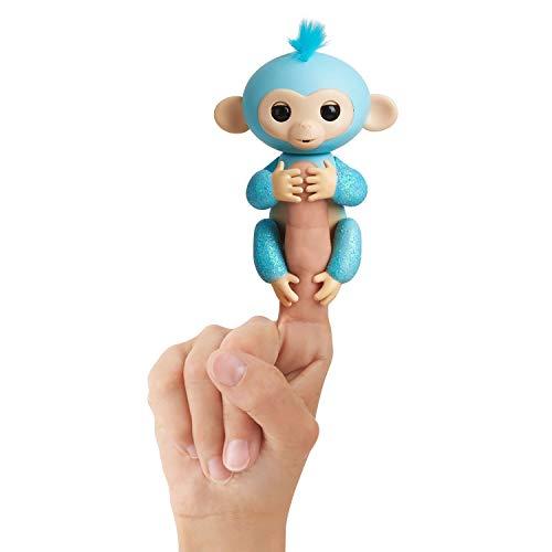 Fingerlings Glitzer Äffchen blau Amelia 3761 interaktives Spielzeug, reagiert auf Geräusche, Bewegungen und Berührungen