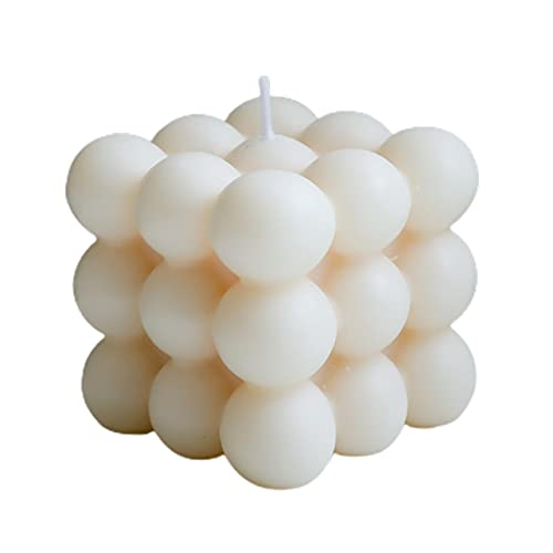 MARSPOWER Vela de Cubo de Burbuja Creativa Vela de decoración del hogar de Cera de Soja Vela perfumada Vela perfumada de Cubo Hecho a Mano escultural - Blanco 6x6Cm