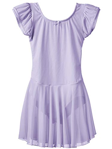 Dancina Girls Leotard Ballet Dress Flutter Sleeve Full Front Lining 8 Lavender