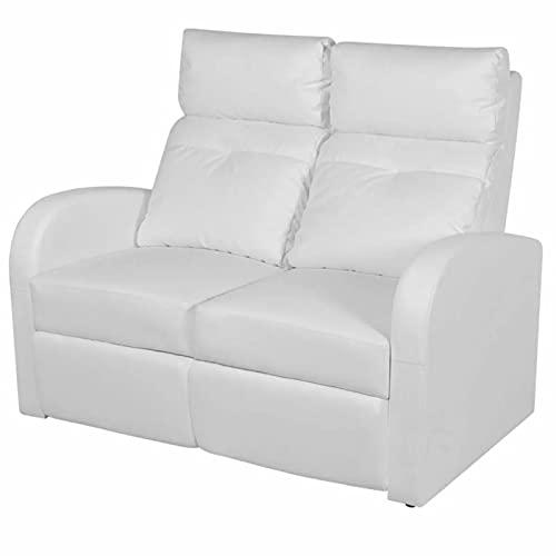 Susany LED-Ruhesessel 2-Sitzer-Sessel mit Verstellbare Rückenlehne und Fußstütze Relaxsessel Liegesessel Fernsehsessel Kinosessel Heimkino Loungesofa Kunstleder Weiß