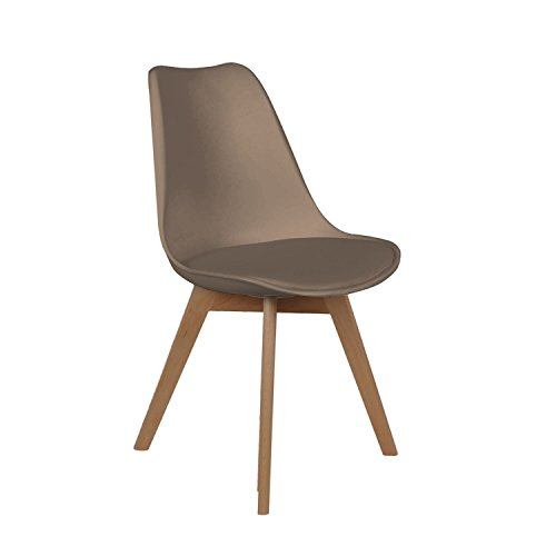 THE HOME DECO FACTORY Chaise scandinave avec Cousin - H. 83 cm - Taupe
