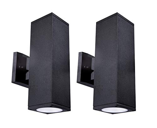 Cloudy Bay LED Outdoor Wall Lamp,Dusk to Dawn Photocell,24W 2100lm,5000K Day Light,Up and Down Light,2 Pack,Matte Black