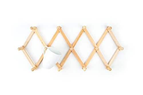 Fox Run Expanding Beechwood Coffee Mug Wall Rack