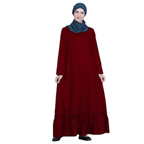Abaya Muslim Women Dress Arab Robe Kaftan Dubai Cocktail Party Gown Long Maxi Turkish Abayas 03 Wine Red L