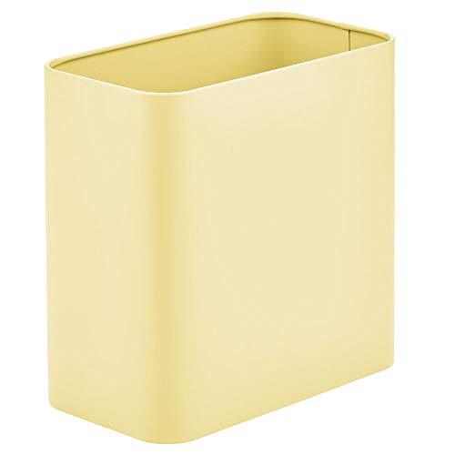mDesign Papelera de Oficina Rectangular – Papelera metálica compacta para baño, Cocina u Oficina con Espacio Suficiente para residuos – Cubo de Basura de Metal – Amarillo Claro