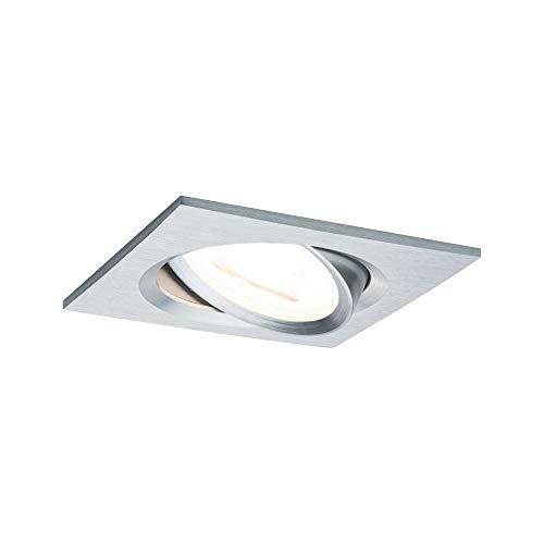 Paulmann Licht 936.18 Paulmann 93618 LED Nova Einbaustrahler eckig Deckenspot 7W Einbaulampe GU10 Alu dimmbar schwenkbar IP23 sprühwassergeschützt Einbauleuchte, 7 W