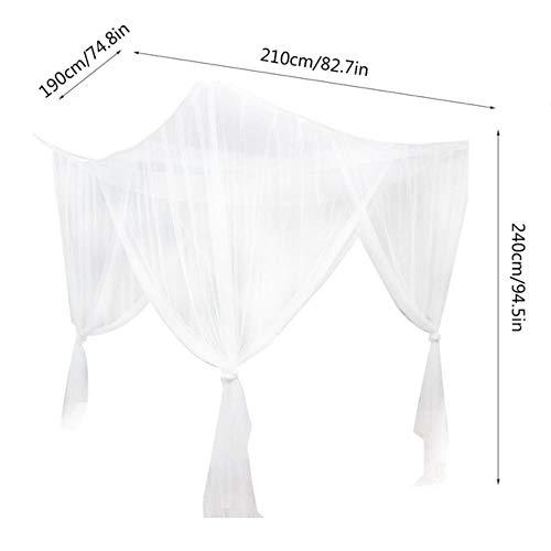 Ltong Klamboe Groot tweepersoonsbed Gaas 4 hoekpaal Klamboe Slaapkamerdecoratie Romantisch hangend bed Volant, wit, 190x210x240cm