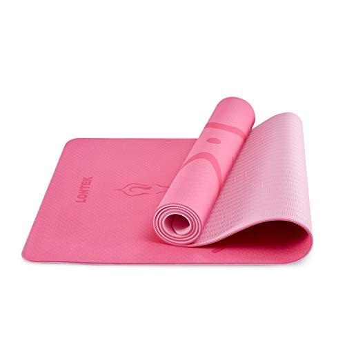 UMAY LONTEK Gymnastikmatte Rutschfest Yogamatte Reise Gepolstert Sportmatte für Fitness Pilates & Gymnastik mit Tragegurt und Tasche Pink 183 x 61 x 0,6cm