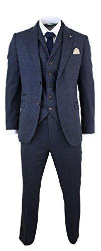 Cavani Herrenanzug 3 Teilig Braun Blau Wollenmischung Fischgräte Tweed Design Vintage