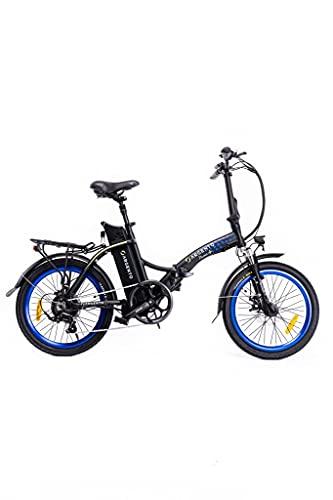 Argento Piuma+, Bicicletta elettrica da Città Pieghevole Unisex Adulto, Blu, 42