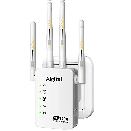 1200Mbps WiFi Repetidor para casa, Extensor de Red WiFi (2.4GHz,300 Mbps, 867Mbps 5GHz, 2 Puerto Ethernet, Modo Punto de Acceso y Repeater, Antenas Externas) Compatible con Todos los routers y Fibra