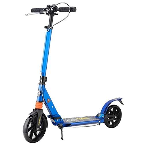 BAIHUO Scooter para adultos, plegable, con freno de mano de disco, ruedas grandes, doble suspensión, altura ajustable, carga de 200 libras (no eléctrica) (color azul)