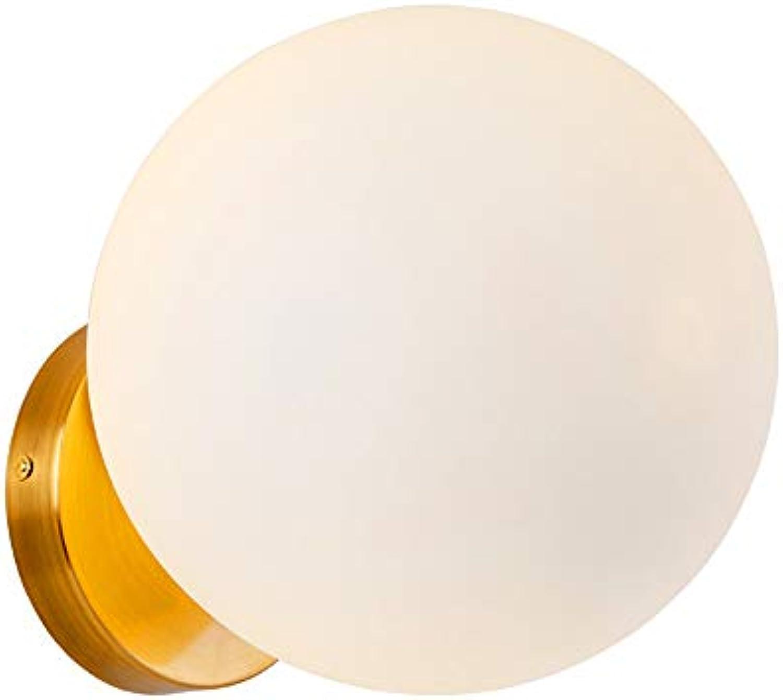 Wandbeleuchtung 1 Flammig Gold Wandlampe Glasball Eisen Flurlampe Innen Wandleuchte E27 Leselampe (Wandspot, Wohnzimmerlampe, Schlafzimmerlampe) Φ18cm