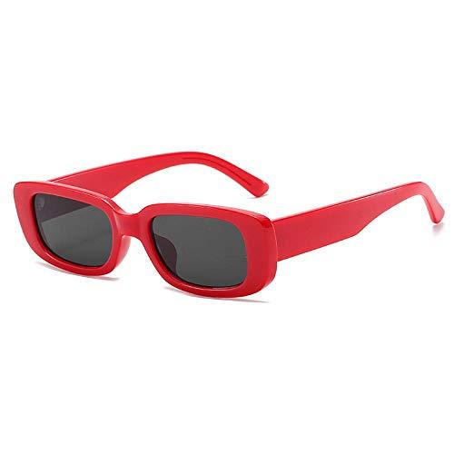Sonnenbrille Herren Retro Rechteck Sonnenbrille Frauen Und Mann Mode Uv400 Vintage Dicker Rahmen Sonnenbrille Mann Dame Shades C2Red-Black