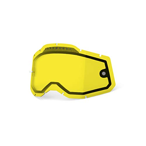 100% Goggle Vented Replacement Lens - Racecraft 2, Accuri 2, Strata 2 Compatible (Vented Dual Pane-Yellow Base)