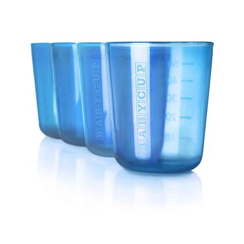 Babycup Primer Vaso - Sippy Cups abiertos para bebés y niños 4m+, taza de aprendizaje graduada y transparente, 100% reciclable y libre de BPA, capacidad de 50ml, set de 4, (azul)