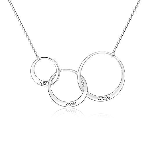 LONAGO 925 Sterling Silber Generationen Halskette 3 Ineinander Greifende Unendlichkeitskreise Personalisierte Gravierte Halskette Schmuck