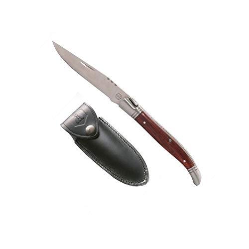 LAGUIOLE cuchillo pequeño con estuche de cuero, mango de madera, hoja 7.2cm...