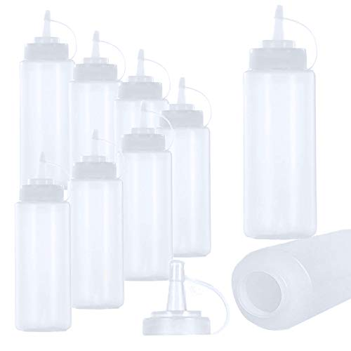 10 Pz 360ml Plastica Squeeze Bottle con Tappo,Bottiglie di Condimento per Spremere,Senza BPA Oliera per Ketchup Senape Maionese Salse Hot Olive Oil