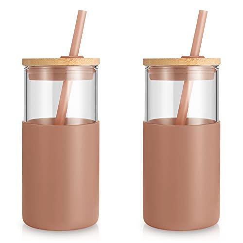tronco 16oz Glass Tumbler Straw Silicone Protective Sleeve Bamboo Lid - BPA Free