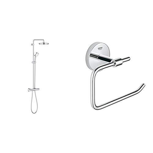 Grohe Tempesta Cosmopolitan 210 - Sistema de ducha con termostato, alcachofa de 210mm y teleducha de 100mm con doschorros y acabado cromado (Ref. 27922001) + Portarrollos de baño (Ref. 40457001)