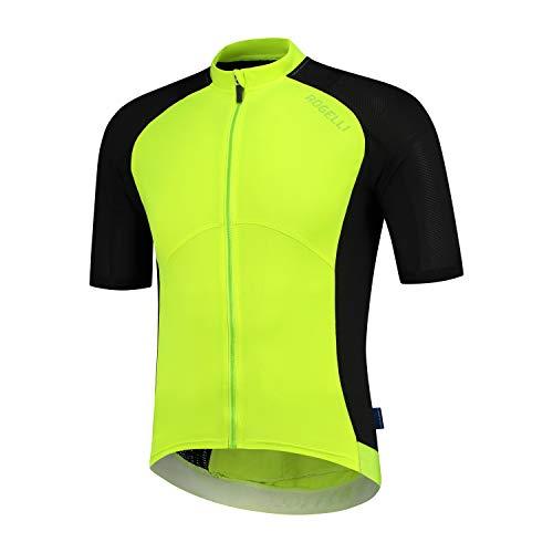 Rogelli Cyclingjersey Ray, Maglia da Ciclismo. Uomo, Nero/Fluo, M